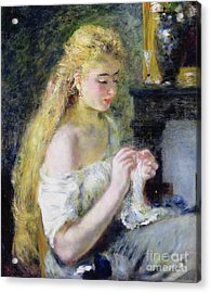 A Girl Crocheting Acrylic Print by Pierre Auguste Renoir