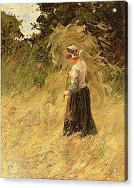 A Girl Harvesting Hay Acrylic Print by Eugene Leon Labitte