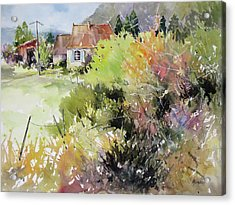A Glimpse Beyond The Brambles, France.. Acrylic Print by Rae Andrews