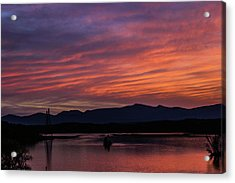 A Glowing Sunset Over The Catskill Mountains Acrylic Print