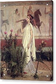 A Greek Woman Acrylic Print by Sir Lawrence Alma-Tadema