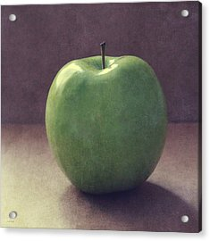A Green Apple- Art By Linda Woods Acrylic Print by Linda Woods
