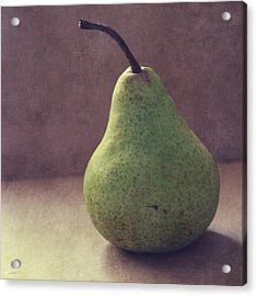 A Green Pear- Art By Linda Woods Acrylic Print by Linda Woods