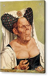 A Grotesque Old Woman Acrylic Print by Quentin Massys