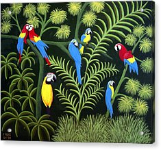 Acrylic Print featuring the painting A Group Of Macaws by Frederic Kohli
