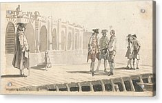 A Group Of Men On Westminster Pier Acrylic Print by Paul Sandby