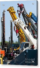 A Group Of Mobile Cranes. Hooks Acrylic Print by Lawren Lu