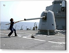 A Gunners Mate Cleans The Barrel Acrylic Print by Stocktrek Images