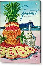 A Hawaiian Scene With Pineapple Slices Acrylic Print