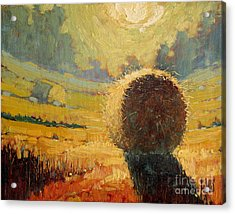 A Hay Bale In The French Countryside Acrylic Print by Robert Lewis