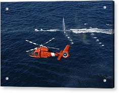 A Helicopter Crew Trains Off The Coast Acrylic Print