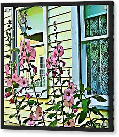 Acrylic Print featuring the digital art A Holly Hocks Morning by Mindy Newman