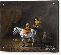 A Horseman Holding A Roemer Of Wine With An Ostler Tending The Horses Acrylic Print by MotionAge Designs