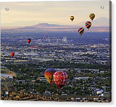 A Hot Air Ride To Albuquerque Cropped Acrylic Print by Daniel Woodrum