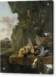 A Hunting Still Life With A Bittern And A Dog In A Landscape Acrylic Print by Jan Weenix
