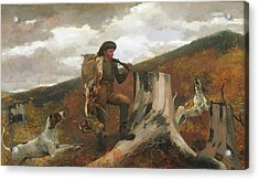Acrylic Print featuring the painting A Huntsman And Dogs - 1891 by Winslow Homer