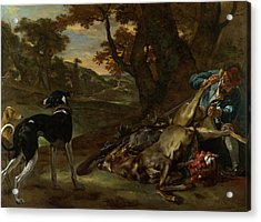 A Huntsman Cutting Up A Dead Deer, With Two Deerhounds Acrylic Print