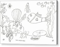 A Jellie And Sea Creatures Acrylic Print