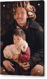 A Kazakh Eagle Hunter And His Son Acrylic Print by David Edwards