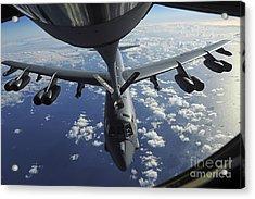 A Kc-135 Stratotanker Aircraft Refuels Acrylic Print by Stocktrek Images