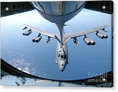 A Kc-135 Stratotanker Refuels A B-52 Acrylic Print by Stocktrek Images