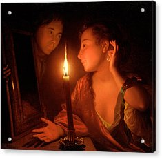 A Lady Admiring An Earring By Candlelight Acrylic Print by Godfried Schalcken
