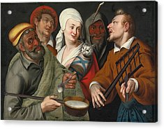 A Lady Holding A Swaddled Cat A Man With A Pan Of Porridge Another Playing With Fire Irons And Two O Acrylic Print