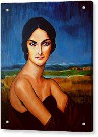 A Lady Acrylic Print by Manuel Sanchez