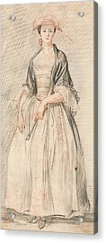 A Lady With A Fan Acrylic Print by Paul Sandby