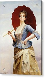 A Lady With A Parasol Acrylic Print by Gustave Jean Jacquet