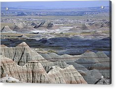 A Landscape Of The Badlands In South Acrylic Print by Joel Sartore