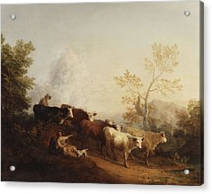 A Landscape With Cattle Returning Home Acrylic Print by Thomas Gainsborough