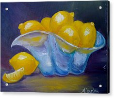 Acrylic Print featuring the painting A Lemon Slice by Marie Hamby