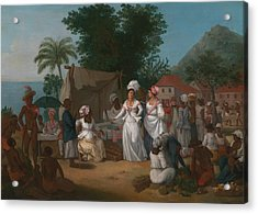 A Linen Market With A Linen-stall And Vegetable Seller In The West Indies Acrylic Print