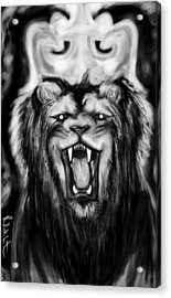 A Lion's Royalty B/w Acrylic Print