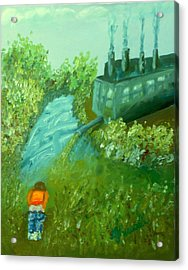 A Little Boy Peeing In The Willamette River Acrylic Print by DJ Russell