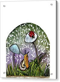 A Little Chat-ladybug And Snail Acrylic Print by Garima Srivastava