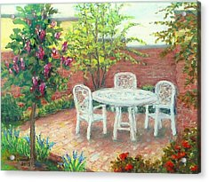A Little Spring Patio  Acrylic Print by Nancy Heindl