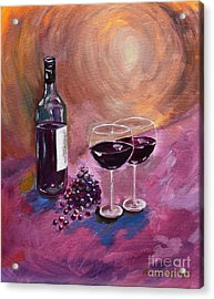 A Little Wine On My Canvas - Wine - Grapes Acrylic Print