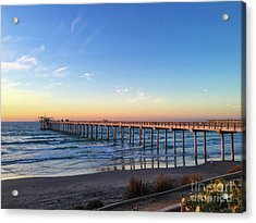 A Long Look At Scripps Pier At Sunset Acrylic Print