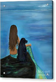 Acrylic Print featuring the painting A Loyal Buddy by Leslie Allen