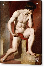 A Male Nude, Seated Full Length Acrylic Print by William Etty