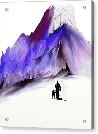 A Man And His Dog Acrylic Print by Jo Baby