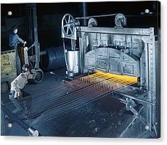A Man Checks Temperatures Of Steel Rods Acrylic Print by Willard R. Culver