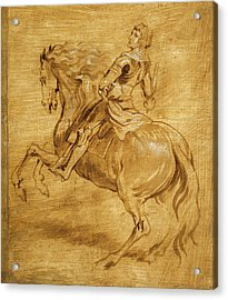 Acrylic Print featuring the painting A Man Riding A Horse by Anthony van Dyck