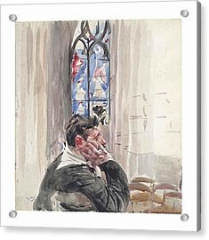 A Man Seated In A Church Acrylic Print