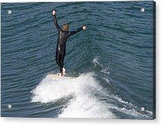 A Man Surfs A Longboard At Refugio Acrylic Print by Rich Reid