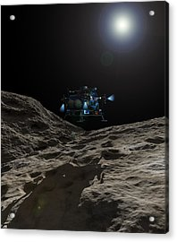A Manned Asteroid Lander Approaches Acrylic Print by Walter Myers