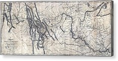 A Map Of Lewis And Clarks Track Acrylic Print by Everett