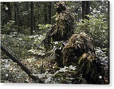 A Marine Sniper Team Wearing Camouflage Acrylic Print by Stocktrek Images
